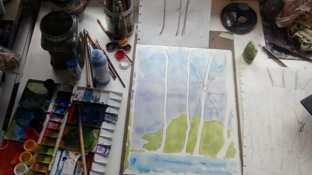 painting in progress in Alexandra Schaefers' studio