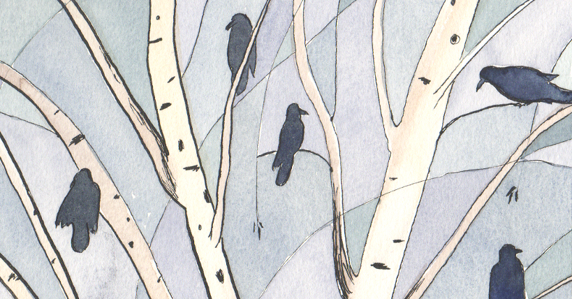 watercolor illustration of crows in a birch tree by Alexandra Schaefers
