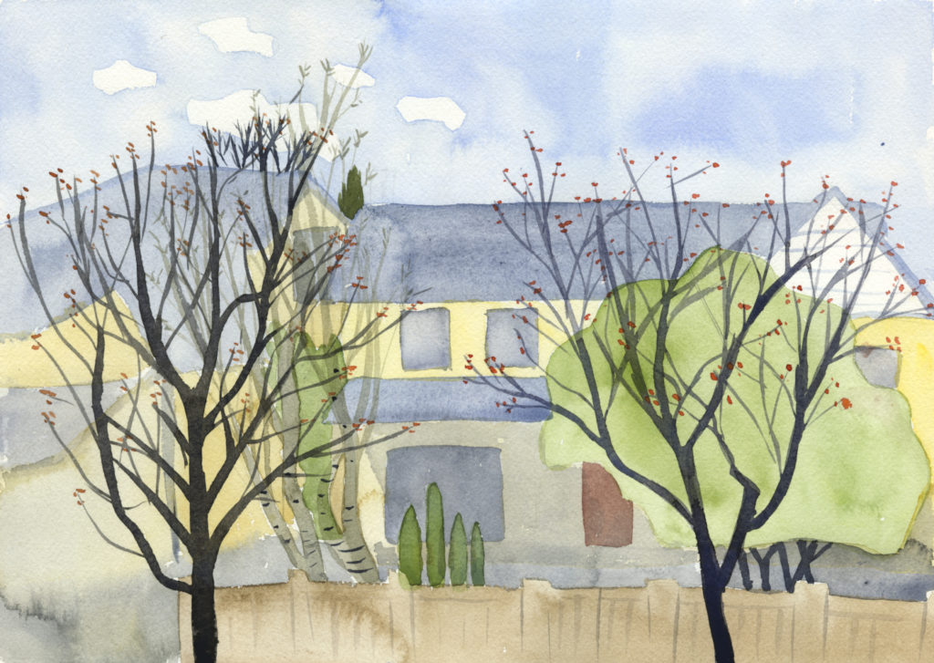watercolor painting of neighborhood trees in Sabin, Portland, Oregon by Alexandra Schaefers