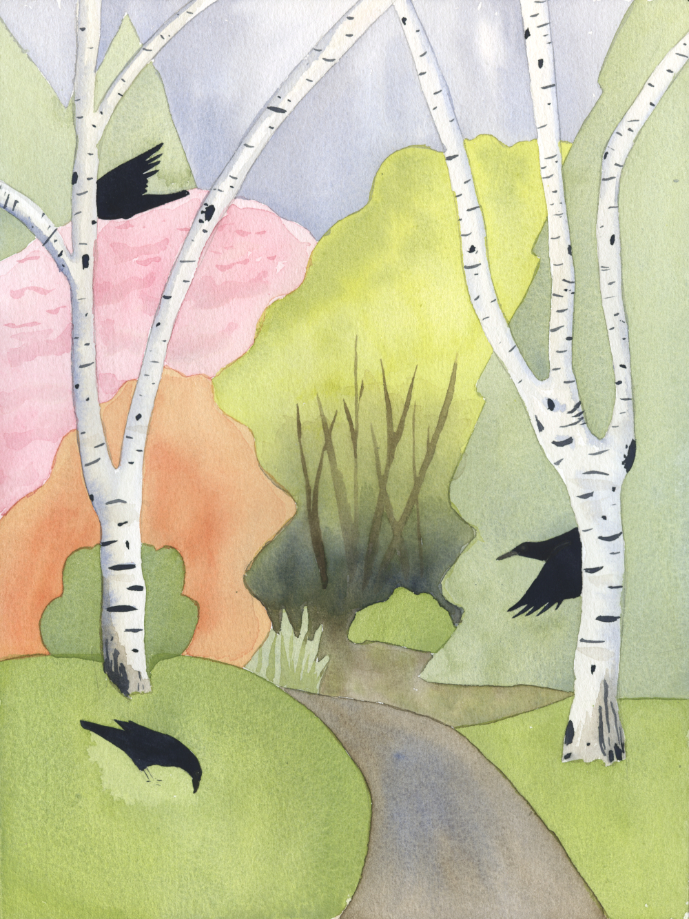 watercolor illustration of crows flying through spring trees by Alexandra Schaefers
