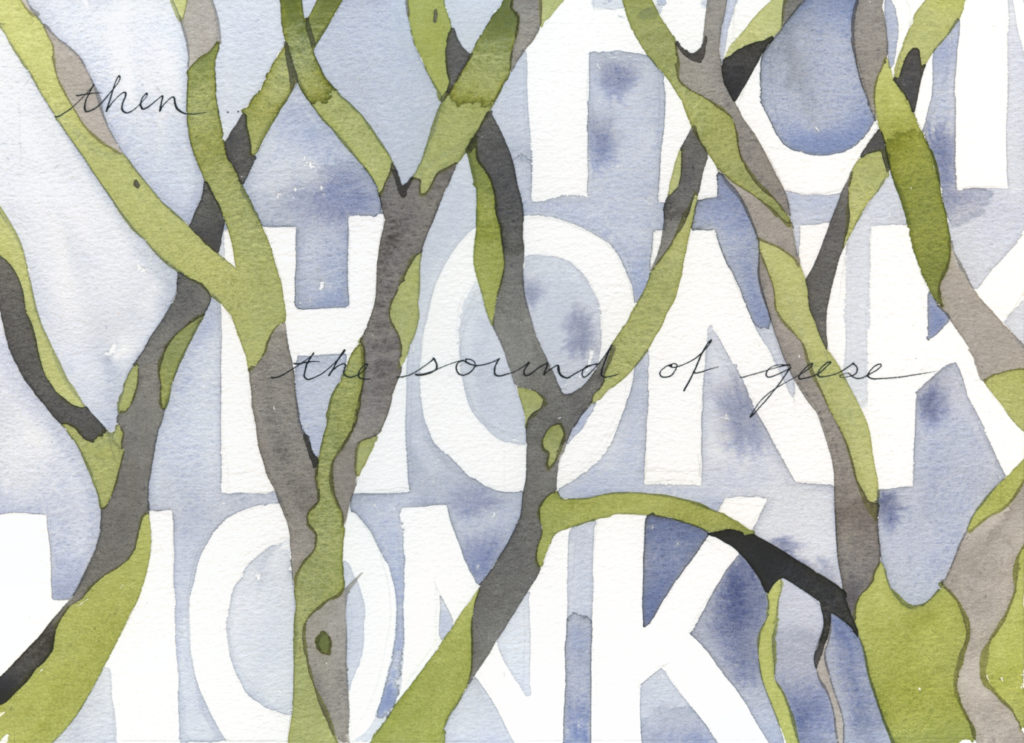"Pages 3 and 4 of ""In the Slough"" an illustrated watercolor poem by artist Alexandra Schaefers. Handwritten text reads: then... the sound of geese"