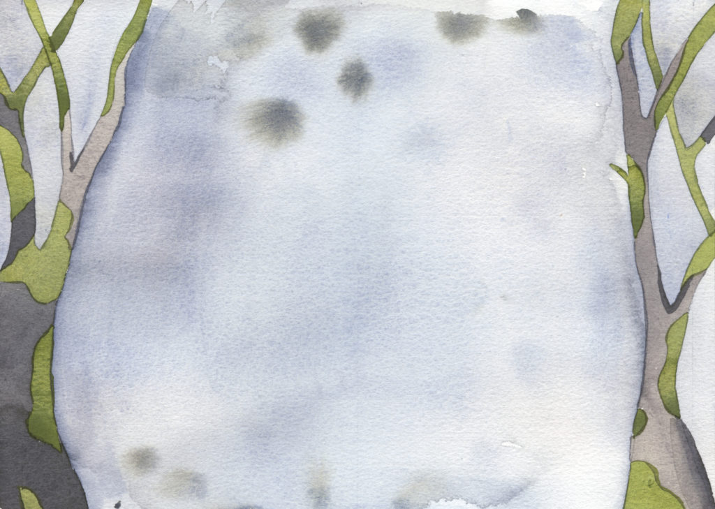 "winter oaks as the end pages of ""In the Slough"" an illustrated watercolor poem by artist Alexandra Schaefers."
