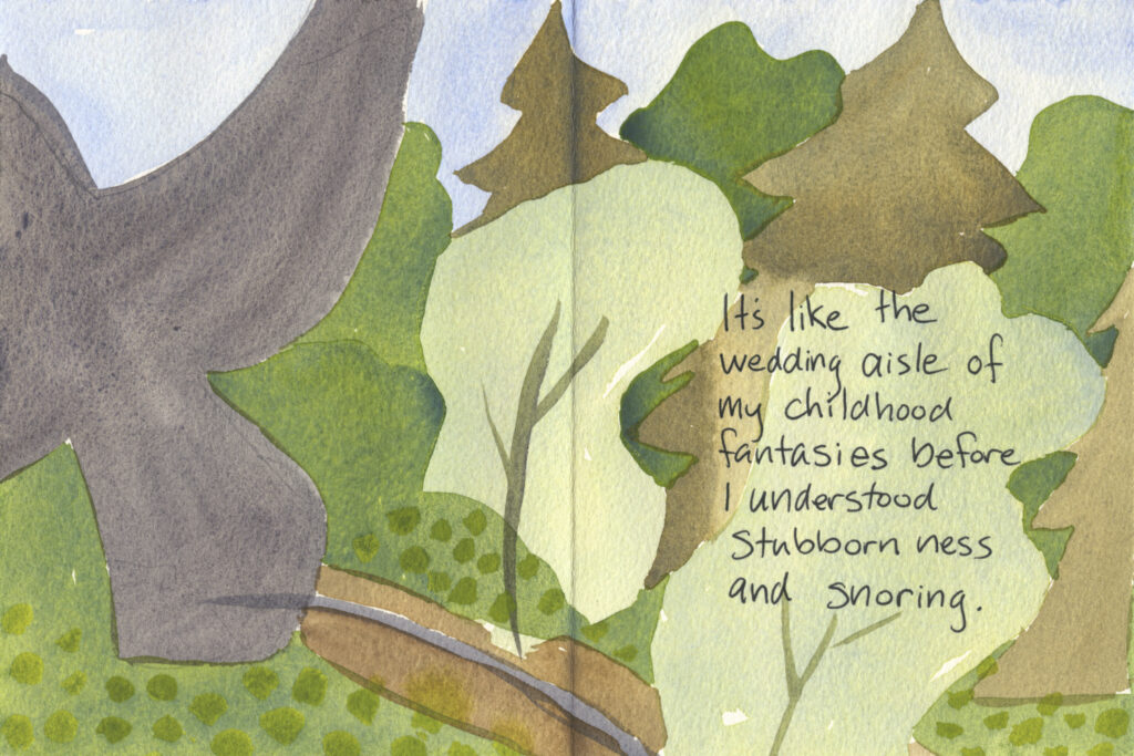 "Book pages with painted bird shapes and trees. Handwritten text reads, ""It's like the wedding aisle of my childhood fantasies before I understood stubbornness and snoring."""
