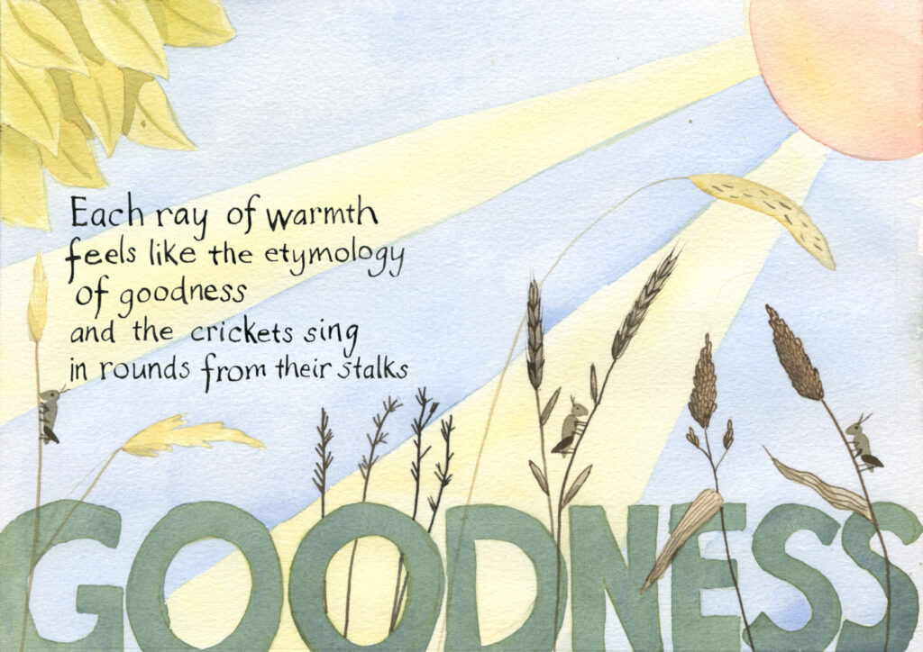 "Watercolor illustration of meadow and wetland grasses with crickets on them and sun rays in the background. Handwritten text reads: ""Each ray of warmth feels like the etymology of goodness and the crickets sing in rounds from their stalks."""