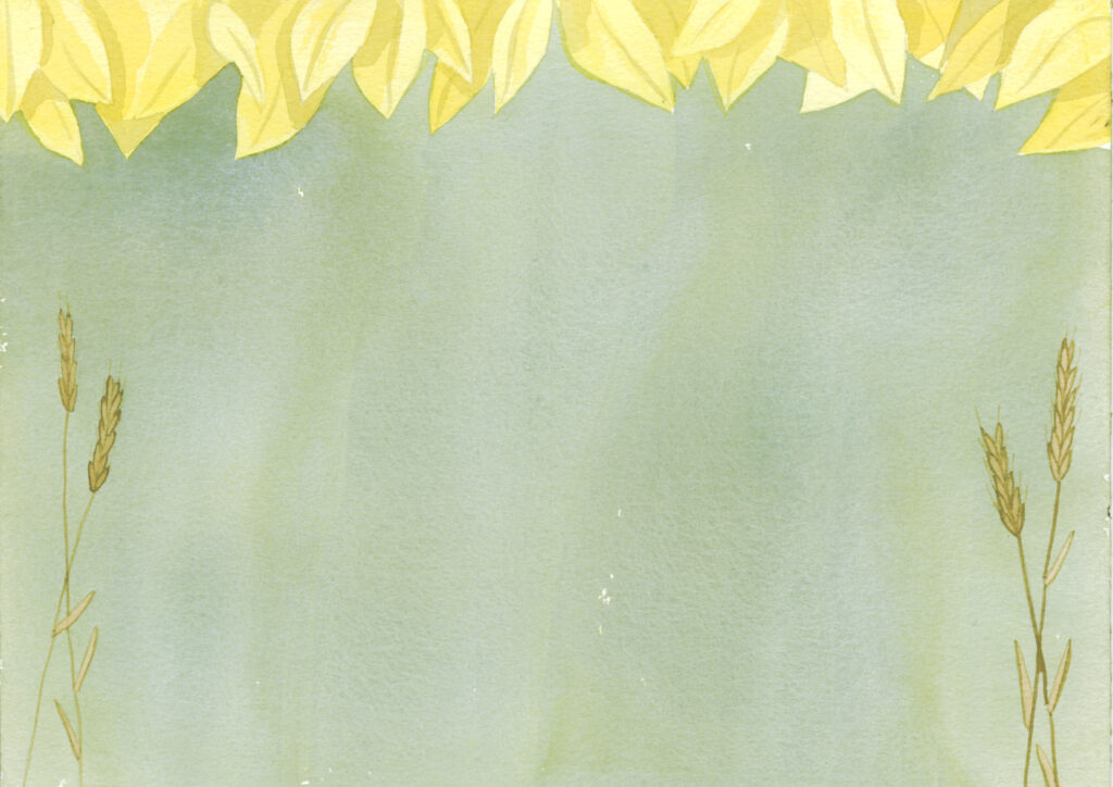 pages bordered with yellow leaves and meadow grasses on a green background.