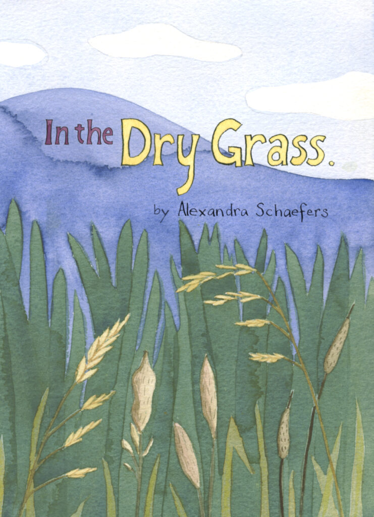 "Cover of ""In the Dry Grass"" by Alexandra Schaefers. Watercolor illustrations of meadow grasses and blue hills."