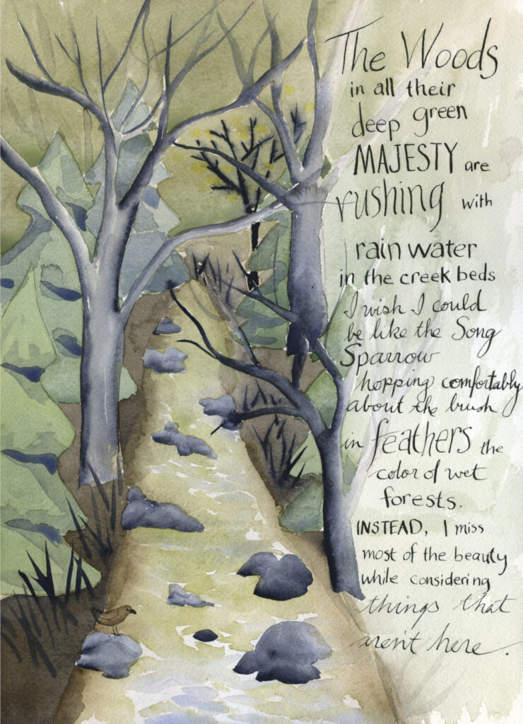 watercolor illustration of a forest creek with handwritten text by Alexandra Schaefers