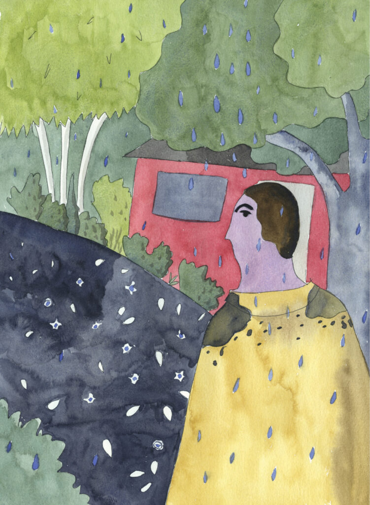 watercolor illustration of a person walking down a rainy spring street by Alexandra Schaefers
